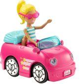 Barbie On the Go jeżdżące różowe auto + lalka