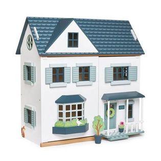 Drewniany trzypiętrowy domek dla lalek