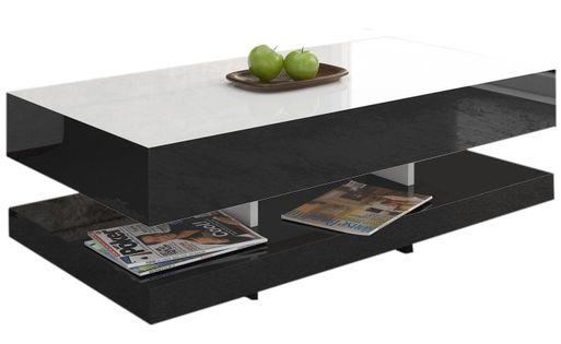 Stolik kawowy do salonu 90cm biało-czarny połysk MD-0031