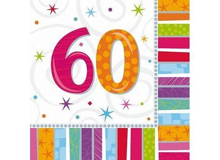 SERWETKI urodziny cyfry 60, 30, 40, 50, 70, 80