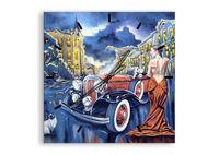 Zegar Ścienny - Retro Auto Kobieta - 60X60 Cm - C3Ac60X60-3450