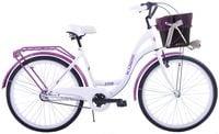 Rower miejski 26 damski Kozbike K36 biało fioletowy 3 biegi