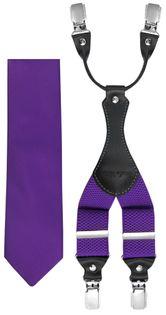 Fioletowy zestaw - szelki i krawat Z32