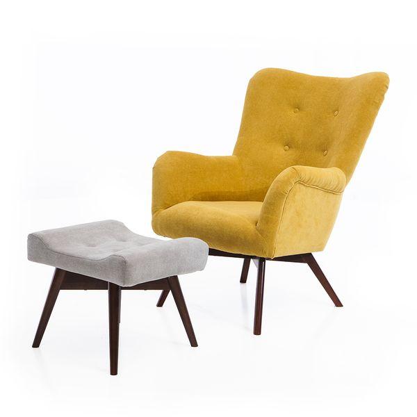 Fotel uszak mały styl skandynawski podnóżek gratis zdjęcie 4