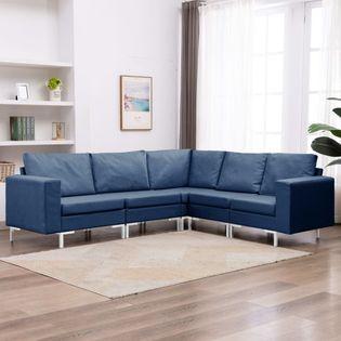 VidaXL 5-częściowy zestaw wypoczynkowy, obity tkaniną, niebieski