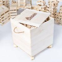 Naturalne klocki edukacyjne Linden zestaw 1000 szt. w skrzyni z drewna