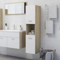Lumarko Szafka łazienkowa, biel i dąb sonoma, 30x30x130 cm, płyta