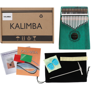 Drewniana Kalimba zazna pianino 17 klawiszy W-17T-6 zielona
