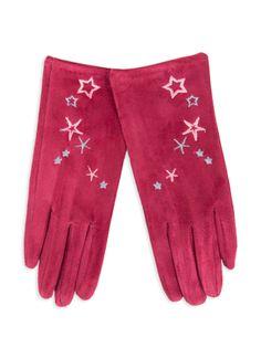Rękawiczki dziewczęce zamszowe czerwone haft w gwiazdki 21