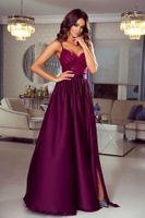 Sukienka Bella koronkowa - bordowy L (40)