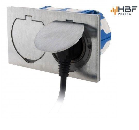 Podwójne gniazdo podłogowe IP55 aluminium szczotkowane zdjęcie 2