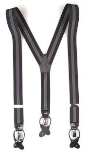 Szelki do spodni na guziki - ciemnografitowe z szarym paskiem G25