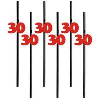 Słomki party na 30 URODZINY czerwone liczby 6 szt