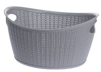 Koszyk kosz owalny organizer WILLOW 9 l szary jasny ażurowy sweterkowy wzór