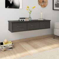 Półka ścienna z szufladami, wysoki połysk, szara, 88x26x18,5 cm