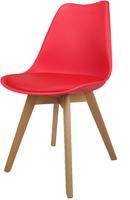 Skandynawskie krzesło KRIS FIORD z poduszką czerwone BUKOWE NOGI