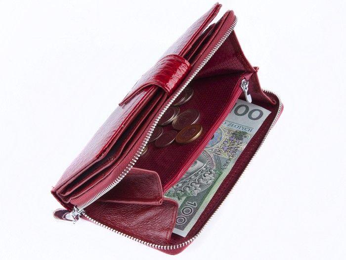 Jennifer Jones portfel Skórzany damski Duży Lakierowany na suwak E72 zdjęcie 3