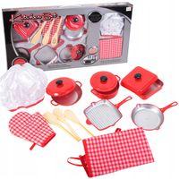 Zabawkowe naczynia garnki fartuszek dla dzieci 14 el. Y163