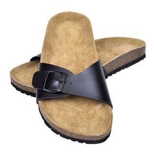 Sandały damskie z korkową podeszwą i 1 paskiem, czarne, 38