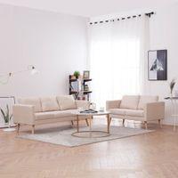 Zestaw 2 sof tapicerowanych tkaniną kremowy VidaXL