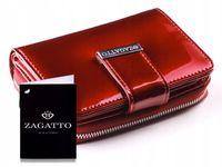 Mały skórzany portfel damski ZAGATTO RFID czerwony