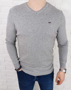 Szary męski sweter w serek z ozdobnym znaczkiem 3454 - M