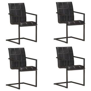 Krzesła stołowe, wspornikowe, 4 szt., czarne, skóra naturalna