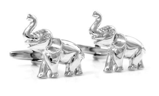 Srebrne spinki do mankietów - słonie U26