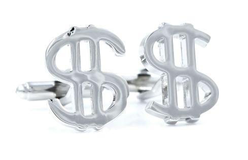 Srebrne spinki do mankietów - znak dolara U24