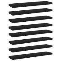 Lumarko Półki na książki, 8 szt., czarne, 40x10x1,5 cm, płyta wiórowa
