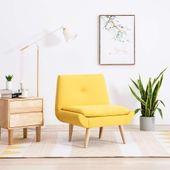 Fotel tapicerowany tkaniną, 73 x 66 x 77 cm, żółty