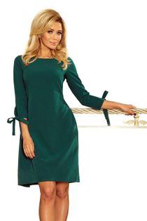 Pudełkowa sukienka z rękawem 3/4 zakończonym wiązaniem oraz z wiązaniem z tyłu - Zielony XXL