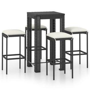 Lumarko 5-cz. zestaw mebli barowych z poduszkami, rattan PE, czarny;