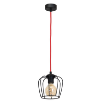 Lampa wisząca VINTAGE Milagro 1xE27 vintage 1  - klosz matowy czarny (kabel w czerwonym oplocie)