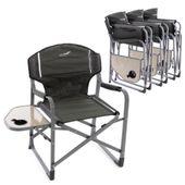Zestaw 4 krzeseł do wędkowania Krzesło kempingowe Krzesło z uchwytem na napoje Khaki