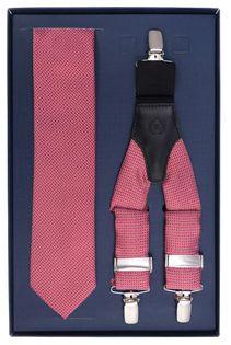 Czerwony zestaw w kółka - szelki i krawat Z3