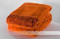 Koc Narzuta Ciepły miękki z Frędzlami 150x200cm Pomarańczowy Bawełna