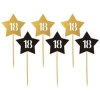 Dekoracja ozdoba piker 18 URODZINY złote gwiazdki