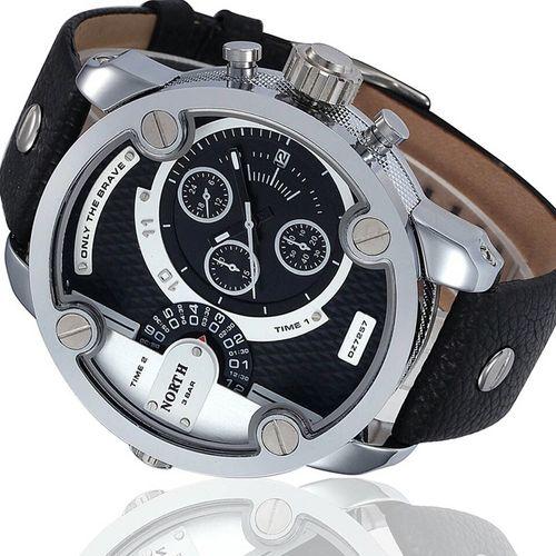 Zegarek męski North 3301, wodoszczelny, srebrny, czarny biały na Arena.pl