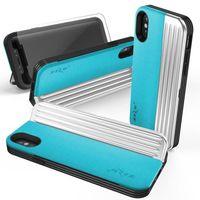 Zizo Retro Series - Etui iPhone X z kieszenią na karty + podstawka + szkło 9H na ekran (Baby Blue/Silver)