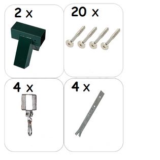 ZESTAW montażowy do huśtawki łączniki+obejmy+kotwy