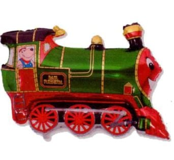 """Balon foliowy """"Pociąg"""", zielony, FLEXMETAL, 12"""" SHP"""