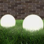Lampy zewnętrzne LED, 2 szt., kule 30 cm, PMMA