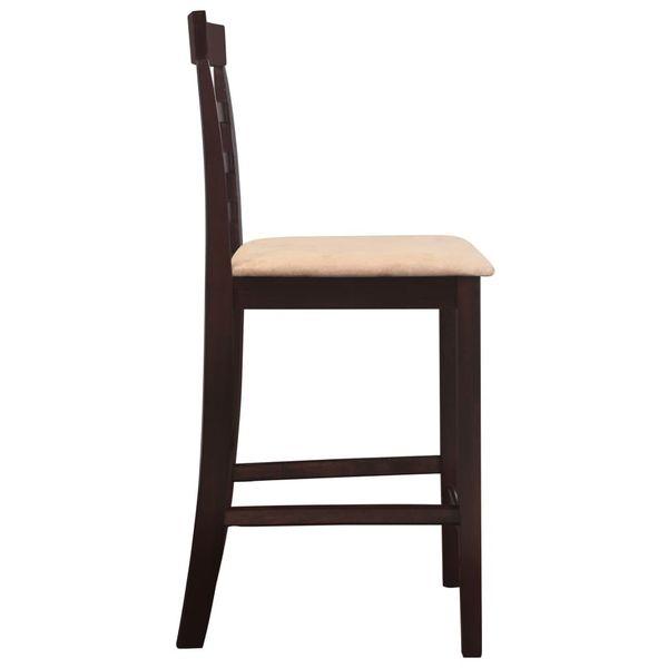 Stół Barowy I 4 Krzesła, Lite Drewno, Ciemnobrązowe zdjęcie 7