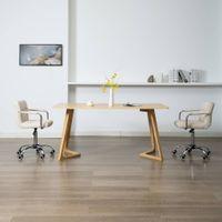 Obrotowe krzesła do jadalni, 2 szt., kremowe, tkanina