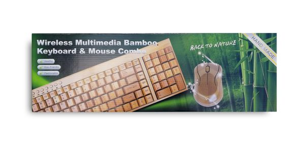 PROMOCJA bambusowa KLAWIATURA i mysz ZESTAW mała