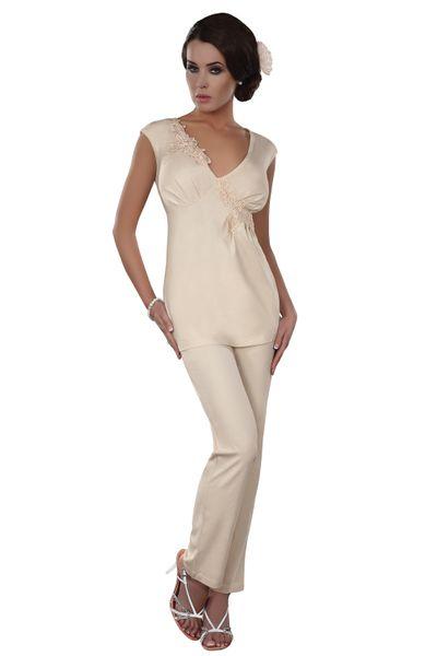 2f39e4f035c56a Wygodna elegancka kremowa piżama długie spodnie top S • Arena.pl