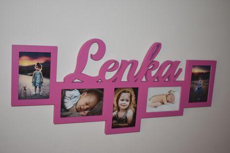 Multirama drewniana ramka na zdjęcia 5 zdj z napisem imię dziecka