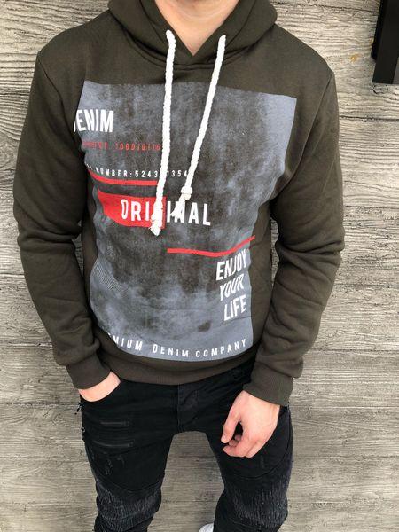 Bluza męska w kolorze khaki z kapturem oraz nadrukiem