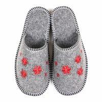 Kapcie klapki filcowe damskie czerwone kwiaty haft